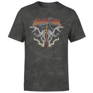 Jurassic Park Raptor Twinz Unisex T-Shirt - Charcoal Acid Wash