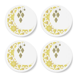 Eid Mubarak Pattern Moon And Lamps Coaster Set