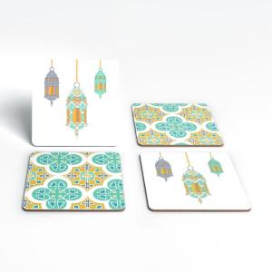 Eid Mubarak Lamps And Print Coaster Set