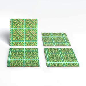 Eid Mubarak Square Pattern Tile Print Coaster Set