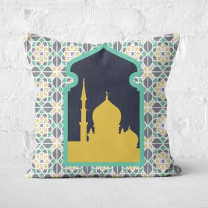 Eid Mubarak Floral Geometric Print With Window Square Cushion