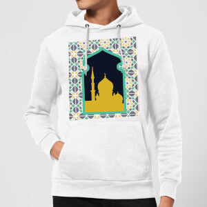 Eid Mubarak Earth Tone Print And Window Frame Hoodie - White
