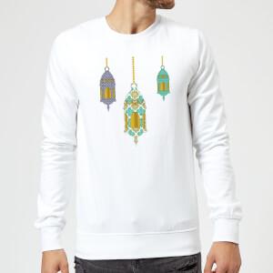 Eid Mubarak Lamps Sweatshirt - White