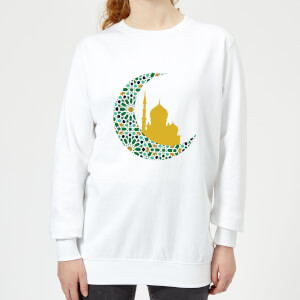 Eid Mubarak Patterned Moon And Golden Skyline Women's Sweatshirt - White