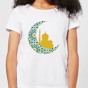 Eid Mubarak Patterned Moon And Golden Skyline Women's T-Shirt - White