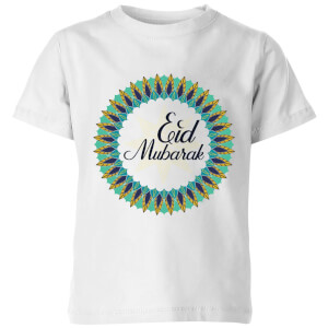 Eid Mubarak Peacock Coloured Wreath Kids' T-Shirt - White