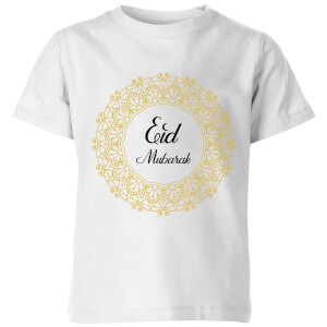Eid Mubarak Golden Wreath Kids' T-Shirt - White