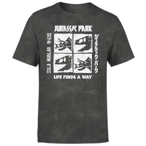Jurassic Park The Faces Unisex T-Shirt - Black Acid Wash