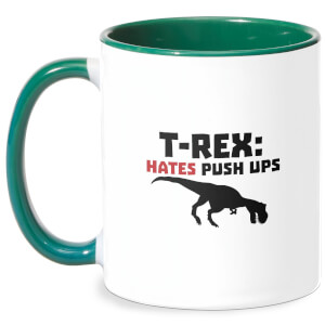 T-Rex Hates Pushups Mug - White/Green