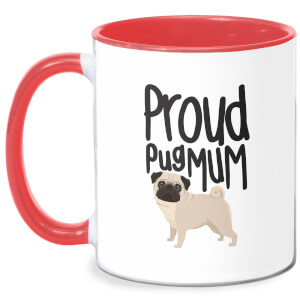Proud Pug Mum Mug - White/Red