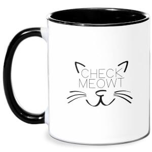 Check Meowt Mug - White/Black