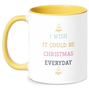 I Wish It Could Be Christmas Everyday Mug - White/Yellow