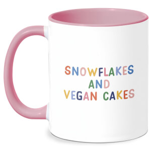 Snowflakes And Vegan Cakes Mug - White/Pink