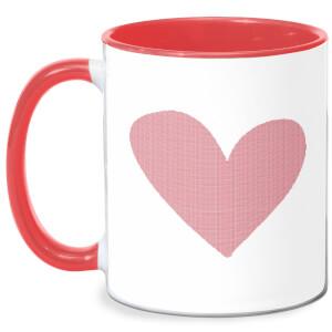 Cross Stitch Heart Mug - White/Red