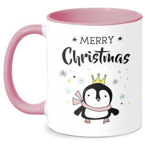 Merry Christmas Penguin Mug - White/Pink