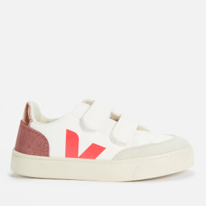 Veja Kids' V-12 Velcro Trainers - Extra White/Multi/Dried Petale