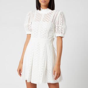 Self-Portrait Women's White Cotton Broderie Mini Dress - White