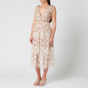 Self-Portrait Women's Flower Sequin Tiered Midi Dress - Multi