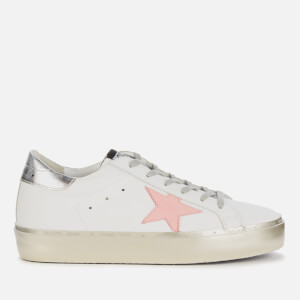 Golden Goose Deluxe Brand Women's Hi Star Leather Flatform Trainers - White/Pink Pastel/Silver/Gold