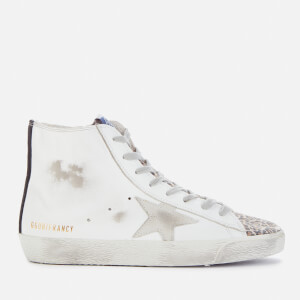 Golden Goose Deluxe Brand Women's Francy Leather Hi-Top Trainers - White/Brown Leopard/Ice Black