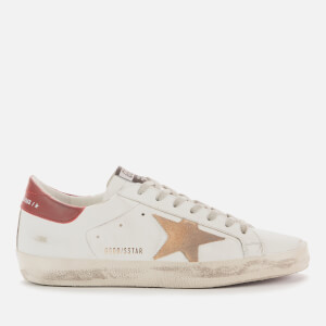 Golden Goose Deluxe Brand Men's Superstar Leather Trainers - White/Cappuccino/Bordeaux