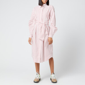 Ganni Women's Stripe Cotton Shirt Dress - Lollipop