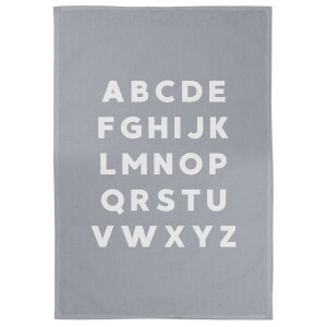 Alphabet Cotton Grey Tea Towel