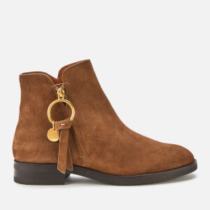 See By Chloé Women's Suede Flat Ankle Boots - Brown