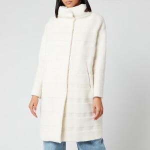 Herno Women's 3/4 Big Hood Wool Coat - Bianco