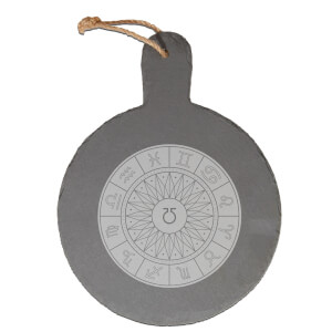 Decorative Horoscope Symbols Engraved Slate Cheese Board