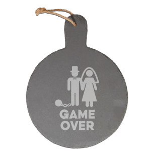 Game Over Groom Engraved Slate Cheese Board