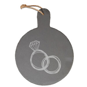 Rings Engraved Slate Cheese Board