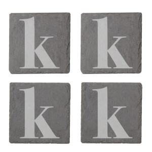 Lowercase K Engraved Slate Coaster Set