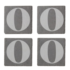 Lowercase O Engraved Slate Coaster Set
