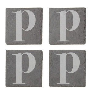 Lowercase P Engraved Slate Coaster Set from I Want One Of Those