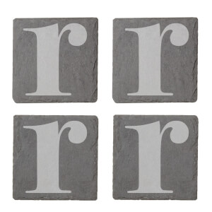 Lowercase R Engraved Slate Coaster Set