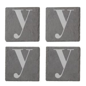 Lowercase Y Engraved Slate Coaster Set