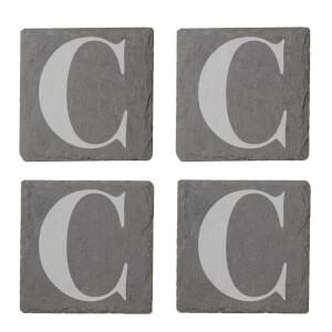 Uppercase C Engraved Slate Coaster Set