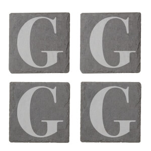 Uppercase G Engraved Slate Coaster Set