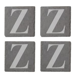Uppercase Z Engraved Slate Coaster Set