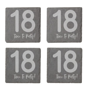 18 Time To Party! Engraved Slate Coaster Set