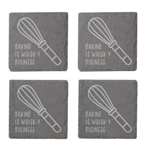 Baking Is Whisk-y Business Engraved Slate Coaster Set