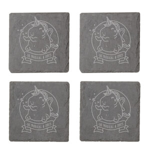 Be Magical & Shit Engraved Slate Coaster Set