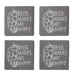 Beer Makes Me Hoppy Engraved Slate Coaster Set from I Want One Of Those
