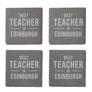 Best Teacher In Edinburgh Engraved Slate Coaster Set