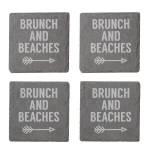 Brunch And Beaches Engraved Slate Coaster Set