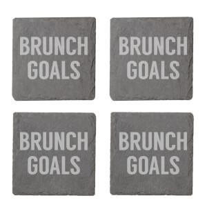 Brunch Goals Engraved Slate Coaster Set