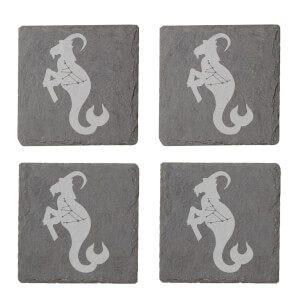 Capricorn Engraved Slate Coaster Set