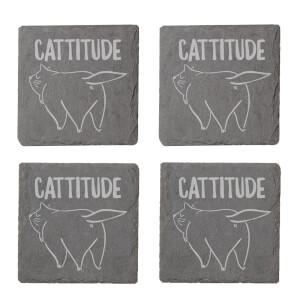 Cattitude Engraved Slate Coaster Set