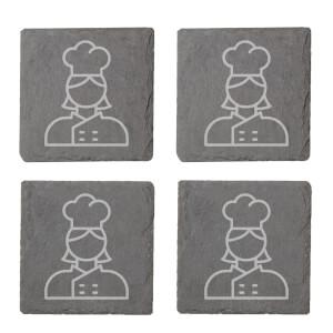Chef Engraved Slate Coaster Set
